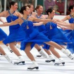 Ice dancers in sync with each other